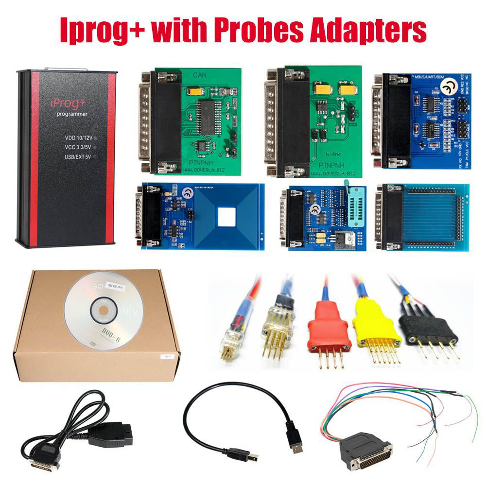 V84 Iprog+ Pro Programmer with Probes Adapters for in-circuit ECU Free Shipping