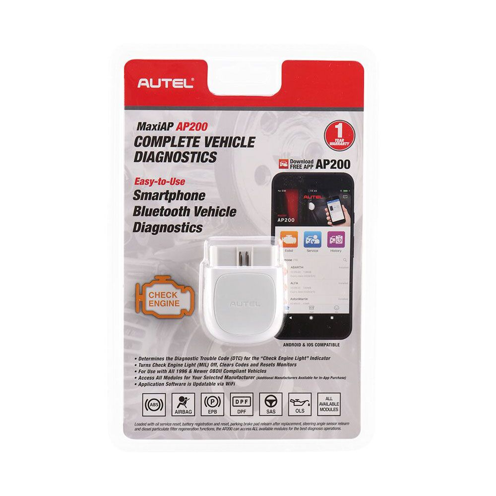 Autel MaxiAP AP200 Bluetooth OBD2 Code Reader with Full System Diagnoses AutoVIN TPMS IMMO Service for DIYers Simplified Edition of MK808